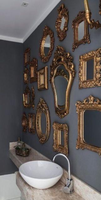 espelho veneziano no lavabo variados