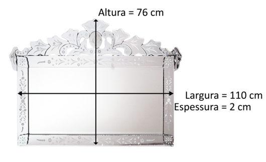 medidas do espelho veneziano médio
