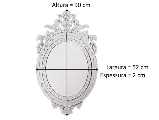 medidas do espelho veneziano redondo