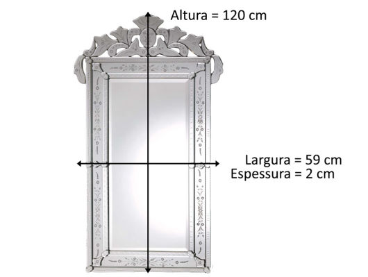 medidas do espelho veneziano
