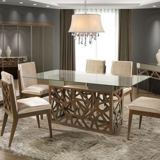 mesa com 6 lugares de vidro