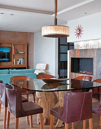 mesa de jantar com tronco