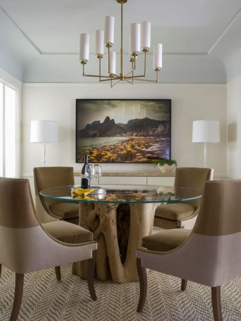 mesa de jantar de vidro sofisticada