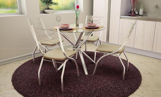 mesa redonda cadeiras com tapete