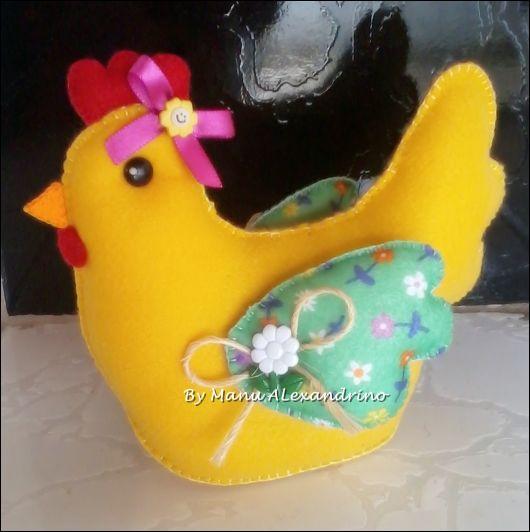 galinha decorada feltro