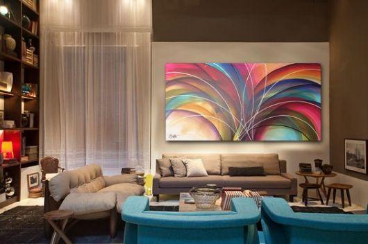 Quadros abstratos na decora o 40 maneiras para usar for Decoracao sala de estar quadros