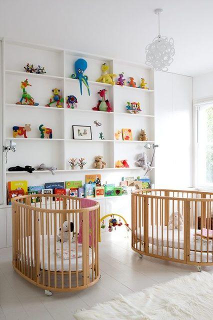 quarto de bebê moderno gêmeos