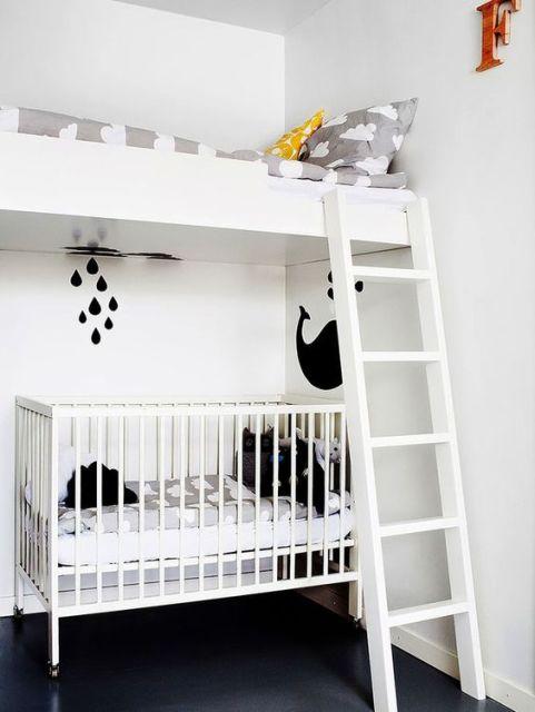 quarto de bebê moderno irmãos de idades diferentes