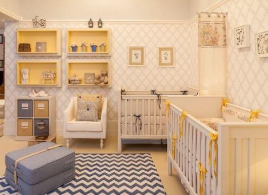 quarto de bebê moderno irmãos gêmeos
