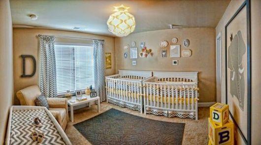 quarto de bebê moderno para gêmeos diferentes