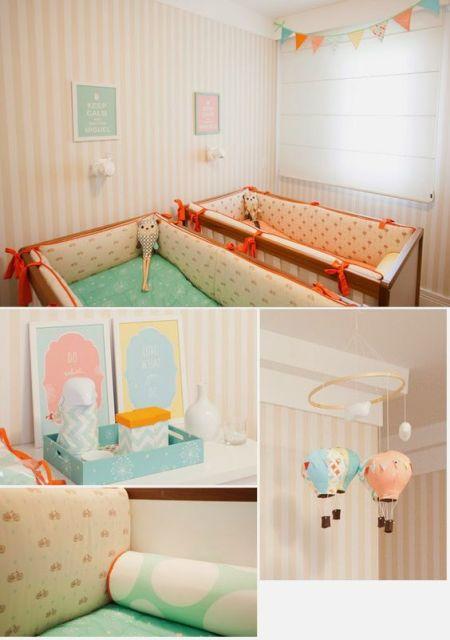 quarto de bebê moderno para irmãos