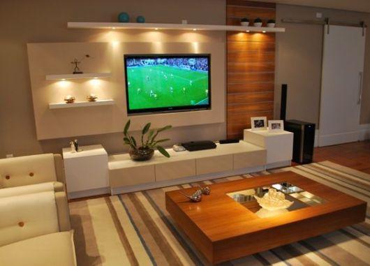 Racks modernos 30 modelos lindos for Sala de estar con tv