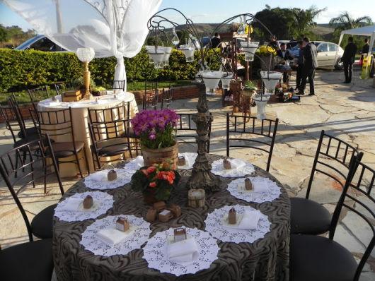 mesa casamento com castiçal