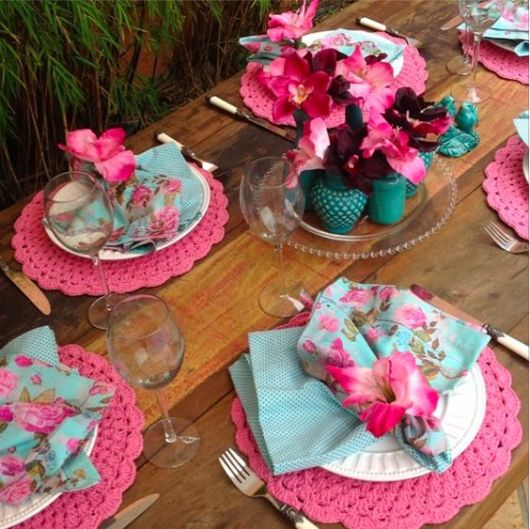 decoração turquesa e pink