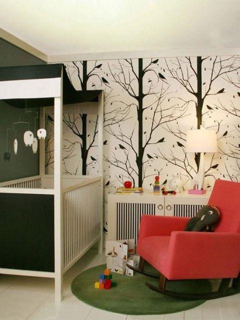 Papel de parede para quarto de bebê árvores