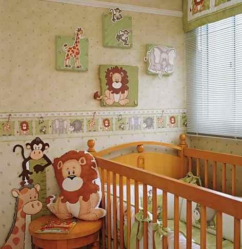 Papel de parede para quarto de bebê animais