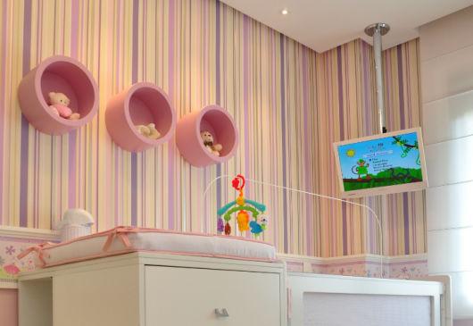 Papel de parede para quarto de bebê 65 modelos lindos ~ Quarto Rosa Listras