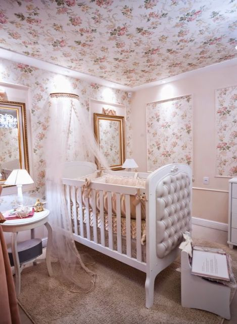 Papel de parede para quarto de bebê flores meninas