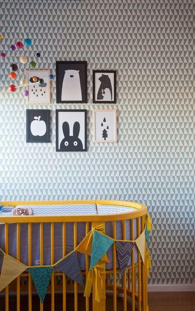 Papel de parede para quarto de bebê geométrico