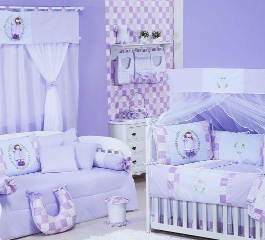 Papel de parede para quarto de bebê lilás menina