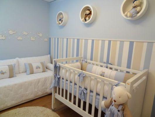 Papel de parede para quarto de bebê listra azul