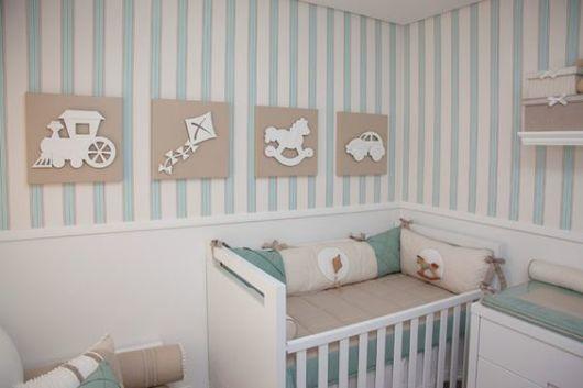 Papel de parede para quarto de bebê listrado azul