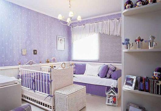 Papel de parede para quarto de bebê menina lilás