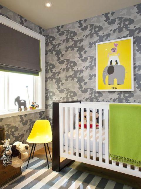Papel de parede para quarto de bebê militar