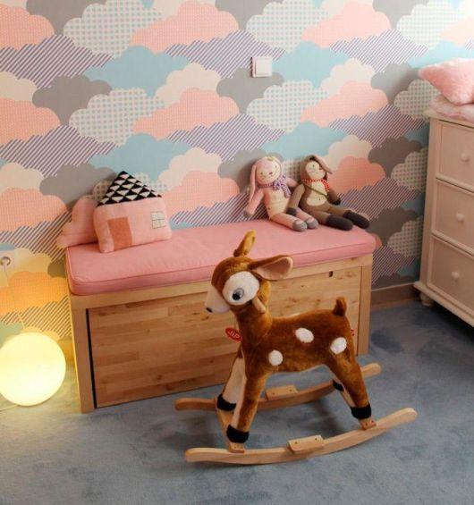 Papel de parede para quarto de bebê nuvem