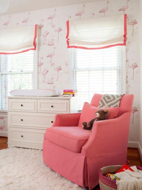 Papel de parede para quarto de beb 65 modelos lindos - Estores para ninas ...