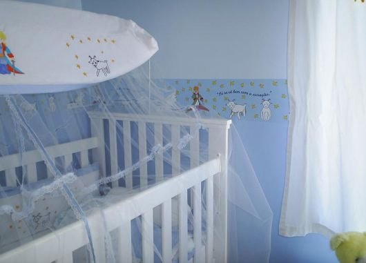 Papel de parede para quarto de bebê pequeno príncipe azul