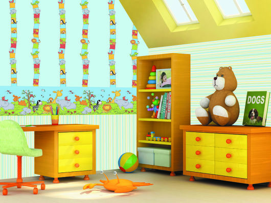 Papel de parede para quarto de bebê safari friends