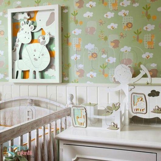 Papel de parede para quarto de bebê safari