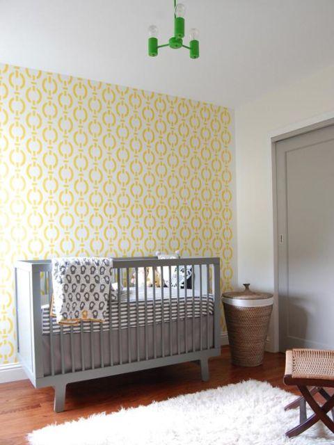 Papel de parede para quarto de bebê unissex amarelo