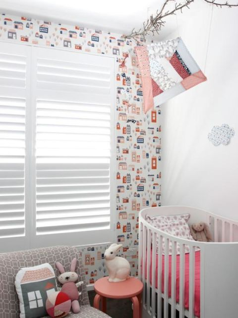 Papel de parede para quarto de bebê unissex casas