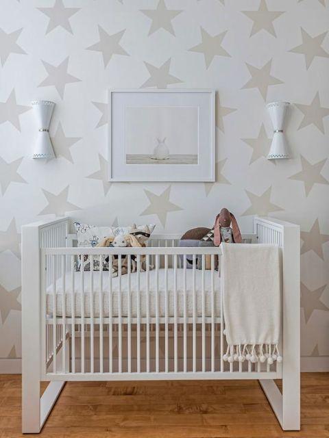 Papel de parede para quarto de bebê unissex estrelas