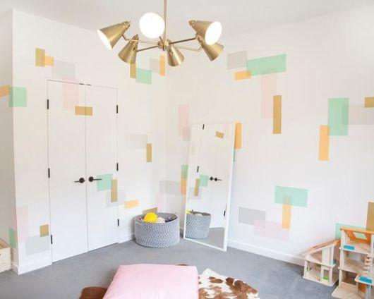 Papel de parede para quarto de bebê unissex formas