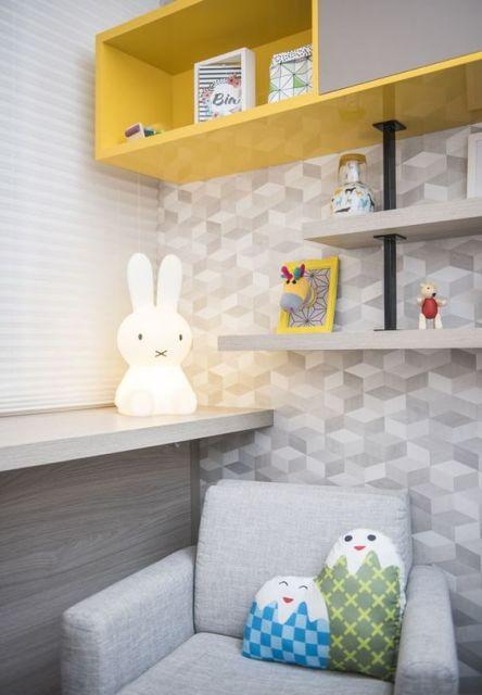 Papel de parede para quarto de bebê 65 modelos lindos ~ Quarto Planejado Unissex
