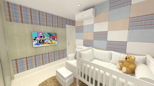 Papel de parede para quarto de bebê xadrez azul e marrom