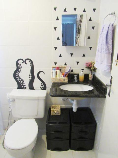 Adesivos para banheiro modelos, tipos e 60 fotos! -> Como Colocar Pia De Banheiro Na Parede