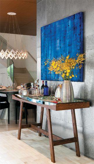 quadro abstrato azul sala
