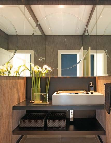 lavabo decorado marrom