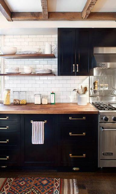 bancada de cozinha de madeira