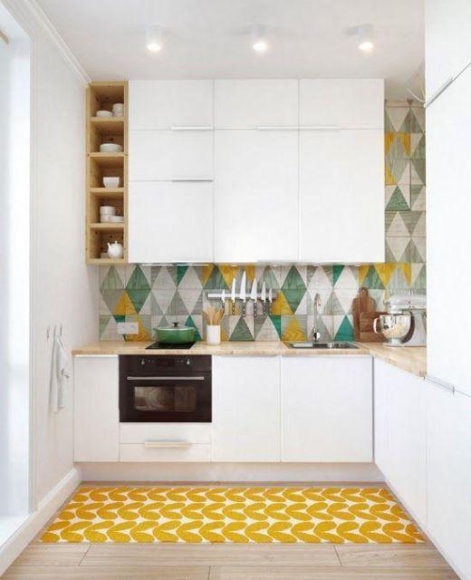 bancada de cozinha em L azulejos
