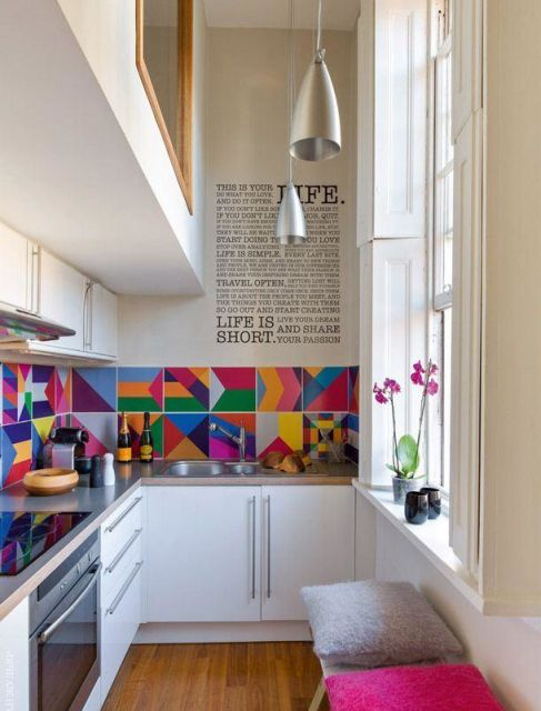 bancada de cozinha em L colorida