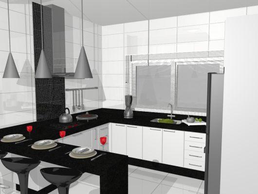 bancada de cozinha em U preto