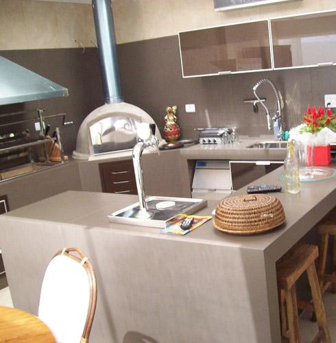 bancada de cozinha em porcelanato cinza