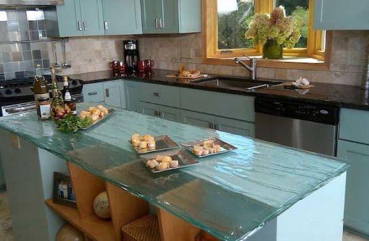 bancada de cozinha em vidro elegante