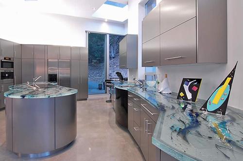bancada de cozinha em vidro estilosa