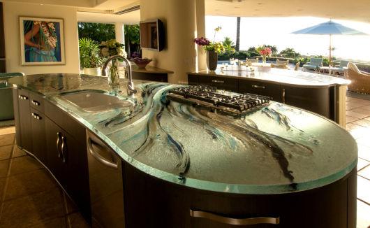 bancada de cozinha em vidro moderna